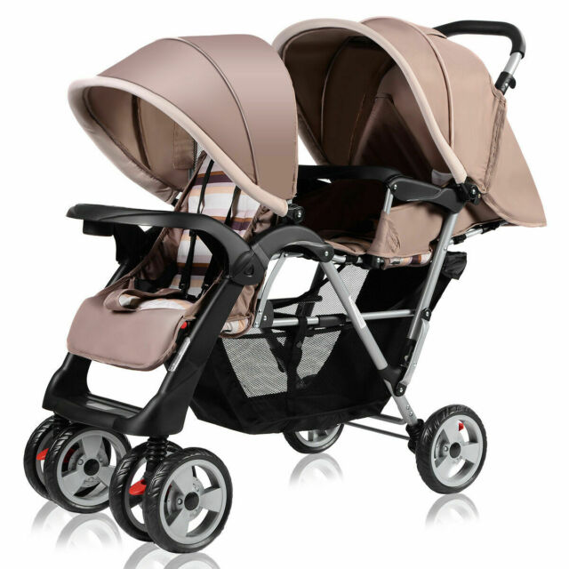 Astounding Foldable Twin Baby Double Stroller Kids Jogger Travel Infant Pushchair Gray Beatyapartments Chair Design Images Beatyapartmentscom