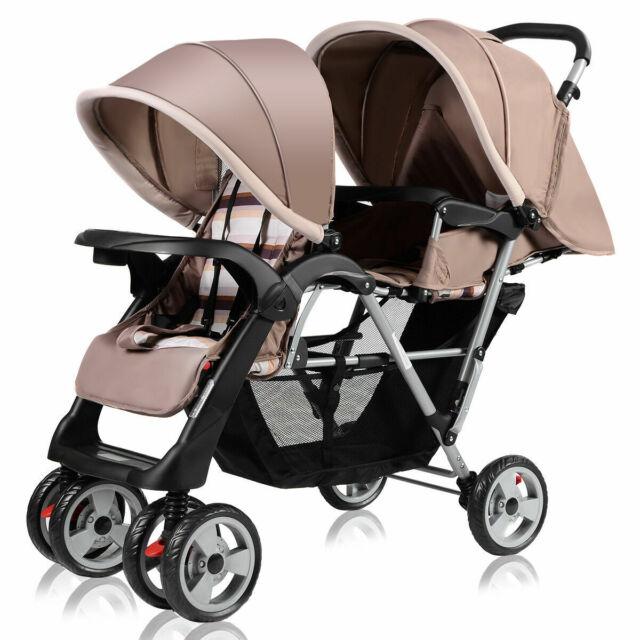 Swell Foldable Twin Baby Double Stroller Kids Jogger Travel Infant Pushchair Gray Creativecarmelina Interior Chair Design Creativecarmelinacom