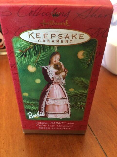 PORCELAIN BARBIE Hallmark Christmas ORNAMENT 2001 Pink Victorian dress LACE  wbx - Hallmark 2001 Barbie Porcelain Christmas Ornament EBay