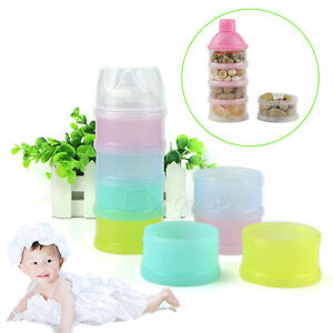1Pc Portable 4 Layers Infant Baby Milk Powder Box Food Storage Container Travel