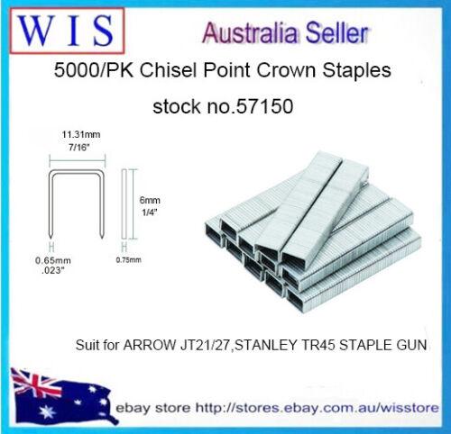PK of 40 6mm Galvanised Staples Chisel Point for Arrow JT21 Staple Gun,5000//Box
