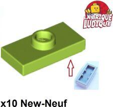 Lego 10x Genuine Earth Green 1x2 Tile Stud Knob Jumper Plate 6192250 15573 NEW