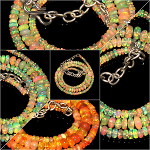 100-Natural-Ethiopian-Welo-Fire-Opal-Roundel-Beads-Necklace-strand-Chain