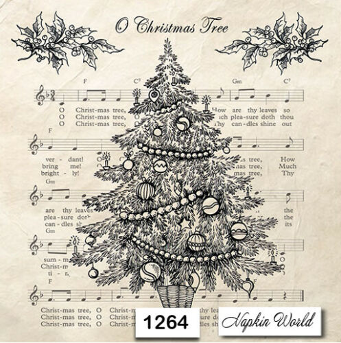 TWO Individual Paper Luncheon Decoupage Napkins 1264 CHRISTMAS TREE MUSIC