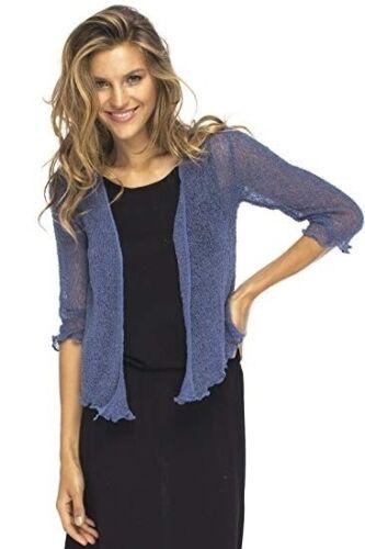 Women Autumn 3//4 Sleeve Lace Sheer Shrug Cardigan Lightweight Knit Mini Bolero