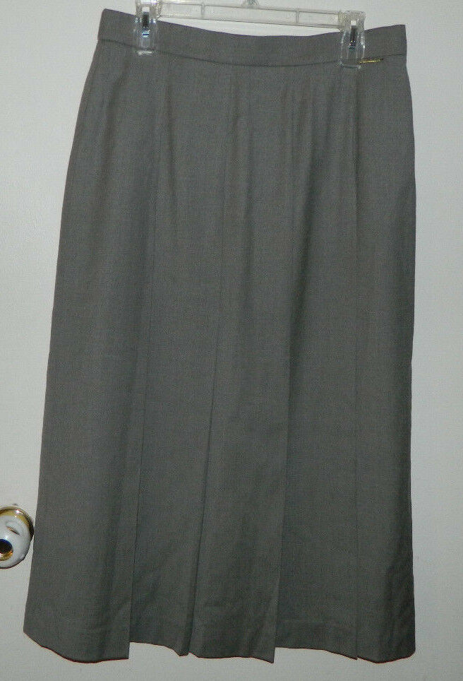 Women 100% Wool Geiger Pleated Solid Brown A-Line Casual Work Skirt Size 44