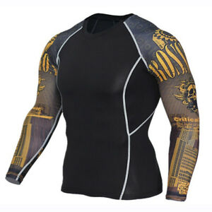 Mens-compression-top-gym-crossfit-MMA-Skull-Cycling-muscle-high-quality-Yellow