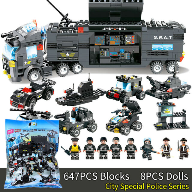 City Special Police Series SWAT:8 IN 1 &Truck Station Building Blocks Gift Le#go