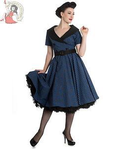HELL-BUNNY-BRIDGET-50s-check-GINGHAM-rockabilly-DRESS-BLUE-BLACK