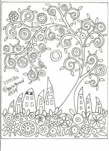 RUG-HOOKING-PAPER-PATTERN-DSC00816-Swirl-Tree-Houses-FOLK-ART-PRIM-Karla-Gerard