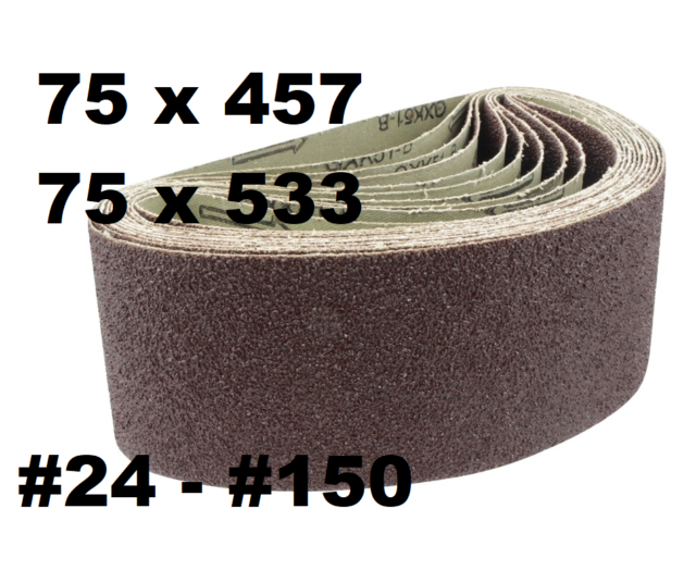 10 x Power Tool Sander Sanding Belt Belts 75mm x 457mm 80 Grit Medium