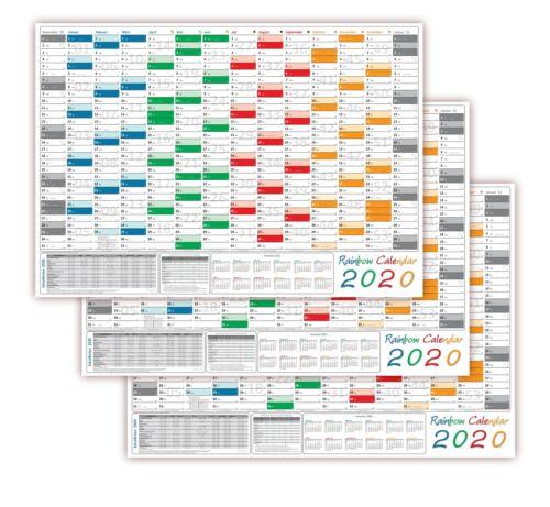 3x Rainbow Wandkalender Wandplaner 2020 gerollt DIN A2 Format 594 x 420 mm