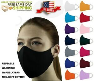 Face Mask Triple Layers 100% Cotton Washable Reusable With Pocket. Unisex