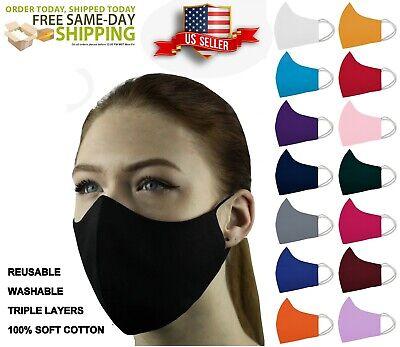 4 Pcs Face Mask Triple Layers 100 Cotton Washable Reusable With Pocket Unisex Ebay