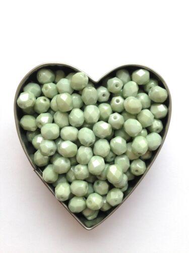 Jewellery Making Czech 6mm Firepolish CW Prairie Green Faceted Round Beads x50