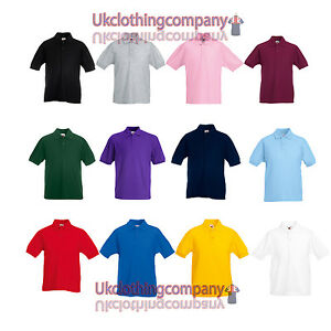 Fruit of the Loom childs 65//35 pique polo shirt White 12 to 13