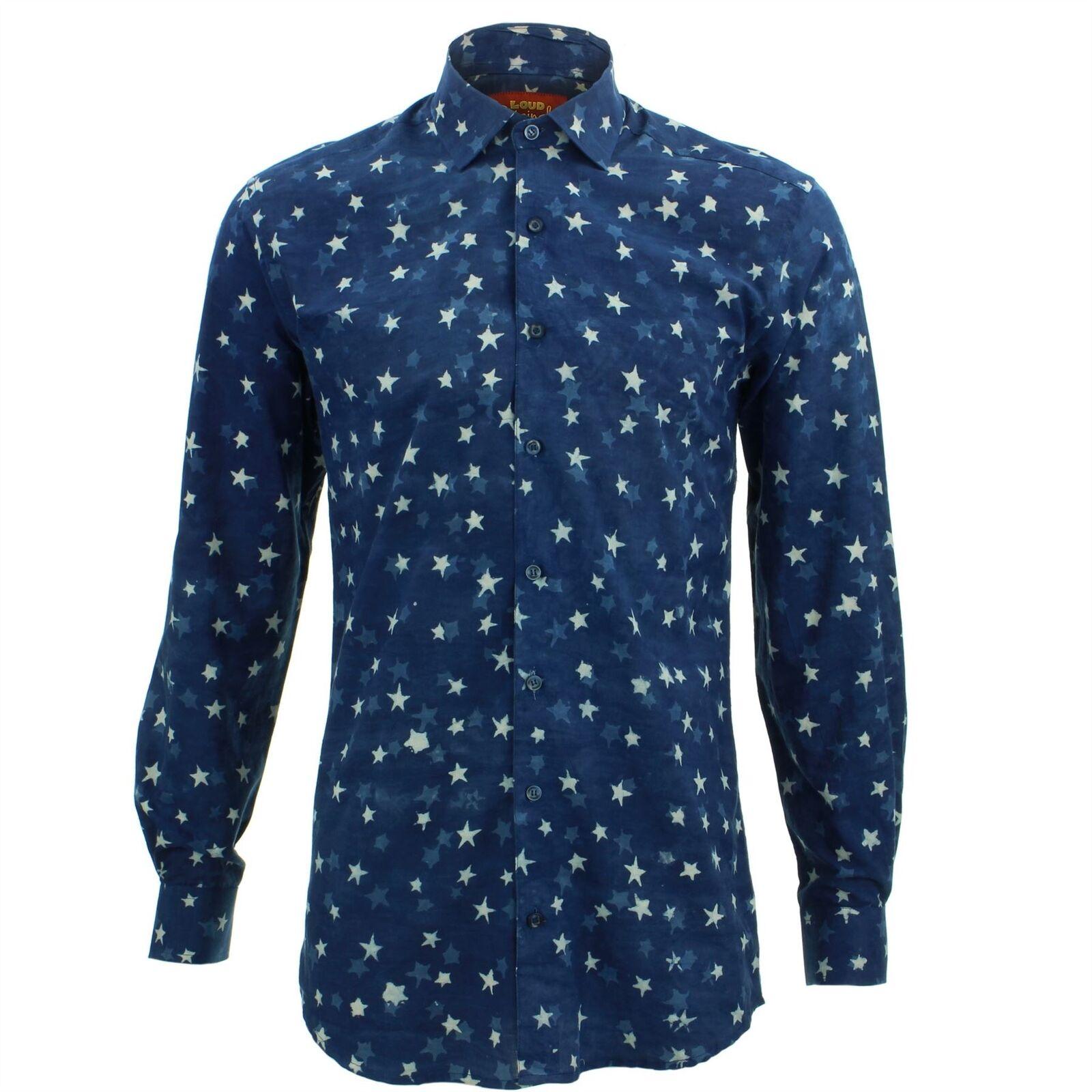 Camicia Camicia Camicia da Uomo Loud Originals Fatto su Misura Astratto Blu Rétro Psichedelico 39042b