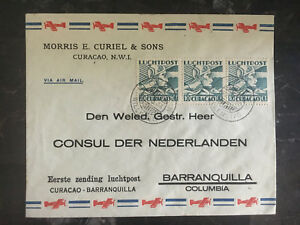 1937-Curacao-NWI-KLM-Airmail-Cover-to-Dutch-Consul-Barranquilla-Columbia