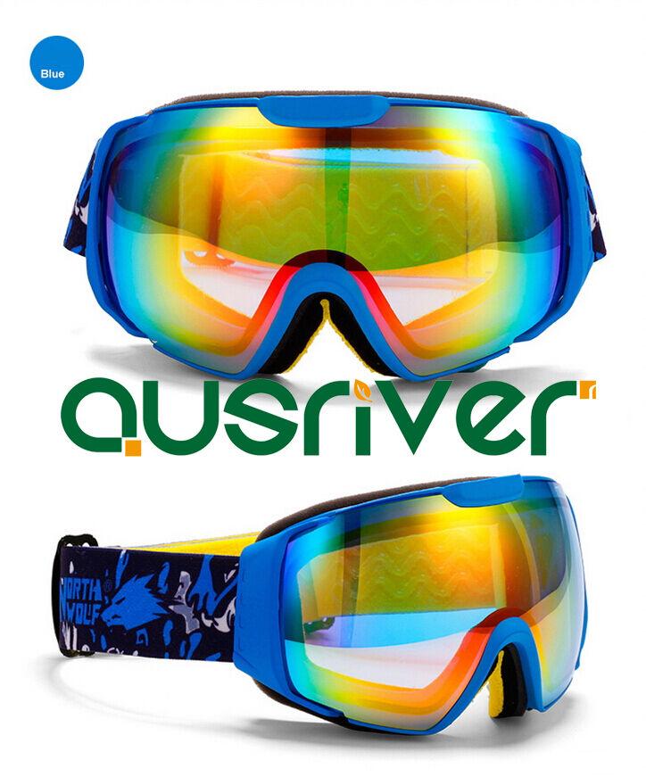 North Wolf Snow Goggles Large Radfahren Glasses Lenses Anti Fog Blau