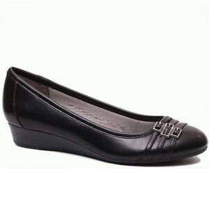 cbcda130cd7 Women s LifeStride FARROW D6889S1001 Black Slip On Low Wedge Heel ...