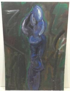 """ Expressif Femme En Bleu "" Huile / Acrylique / Mktn Attribution. Evelyn Walter Saveur Pure Et Douce"