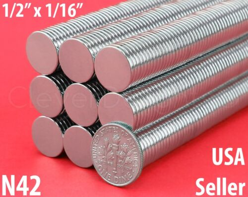 20 Neodymium Magnets - 1/2 x 1/16 N42 Disc Magnet - Craft Strong 13mm x 1.5mm