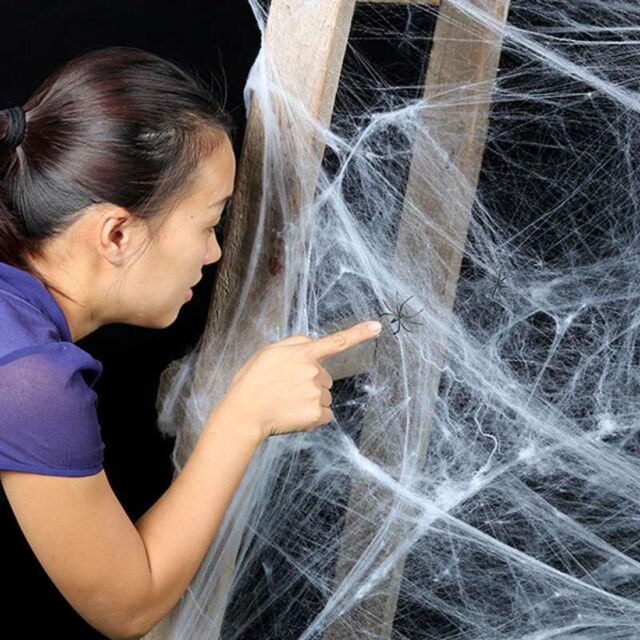 Spider Web With Spiders Halloween Party Decoration Stretchy Cobweb New