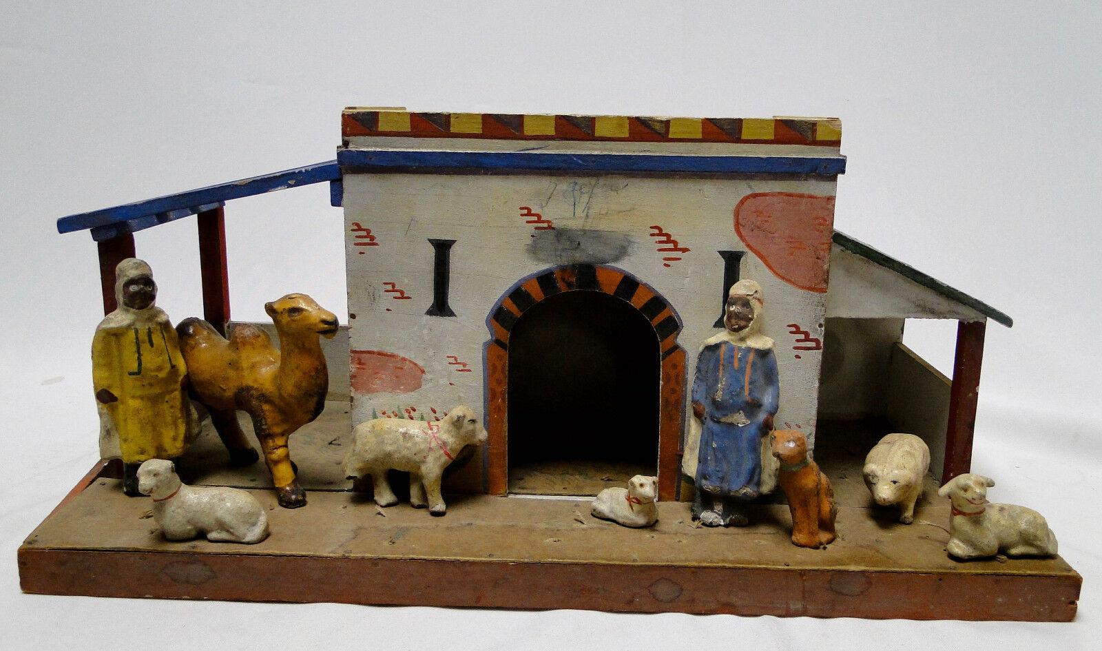 Juguete Antiguo De Madera estable árabe con 2 2 2 hombres y animales composición  distribución global