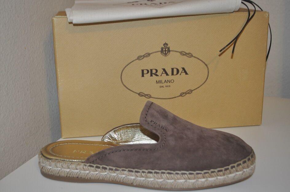 NIB $490 PRADA Espadrille Loafer Mule Slide Flat schuhe Braun Suede 39.5 - 9.5