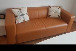 Kunstleder Couch Cognac Farbe Modern Neuwertig Aufgrund