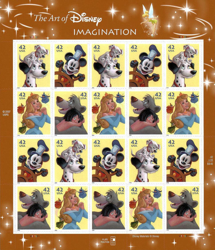 2008 42c The Art of Disney, Imagination, Sheet of 20 Sc