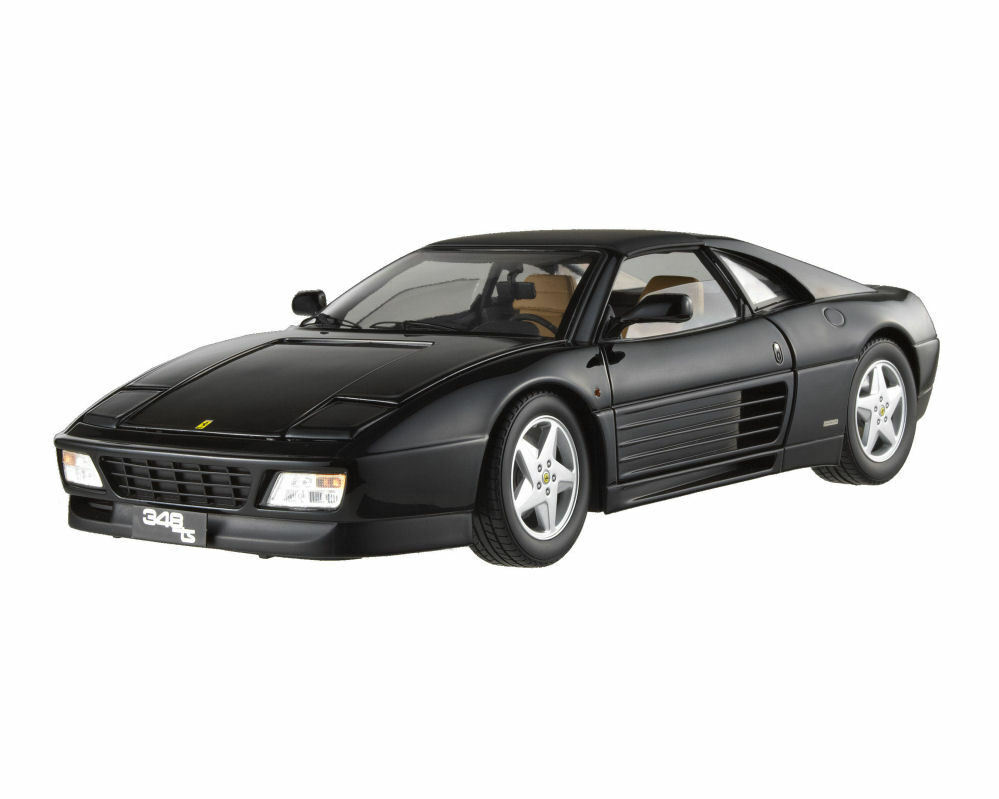 1 18 Hot Wheels Elite Ferrari 348 TS Diecast nero con todas las piezas de apertura