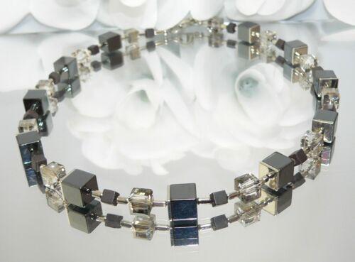 Halskette Würfelkette Kette Würfel Cube Hämatit schwarz Kristallglas grau 066h