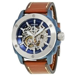 Fossil-Men-039-s-Automatic-Watch-Blue-Ion-Plated-Steel-Brown-Leather-ME3135