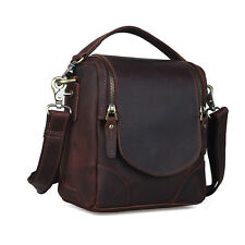 Vintage Brown Leather DSLR SLR Camera Bag Shoulder Bag Carry On Handbag Case