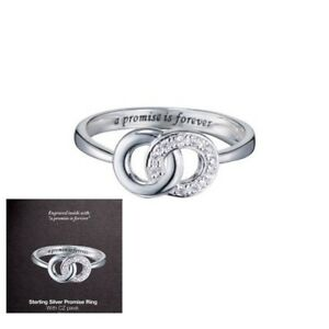 Sterling-Silver-Ladies-Pave-Promise-CZ-Ring-Engraved-Avon-Size-8-Entwined-Circle