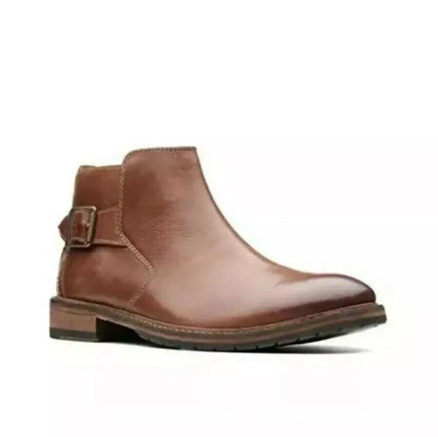 Clarks Men's Clarkdale Remi Dark Tan Leather Boots UK Size 9.5/ Eu 44
