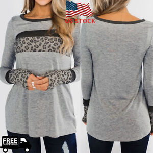Women-Lady-Long-Sleeve-O-Neck-T-shirt-Leopard-Splicing-Blouse-Loose-Casual-Tops