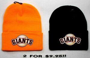READ-ALL-San-Francisco-Giants-HEAT-APPLIED-Flat-Logos-on-2-Beanie-Knit-Cap-hat