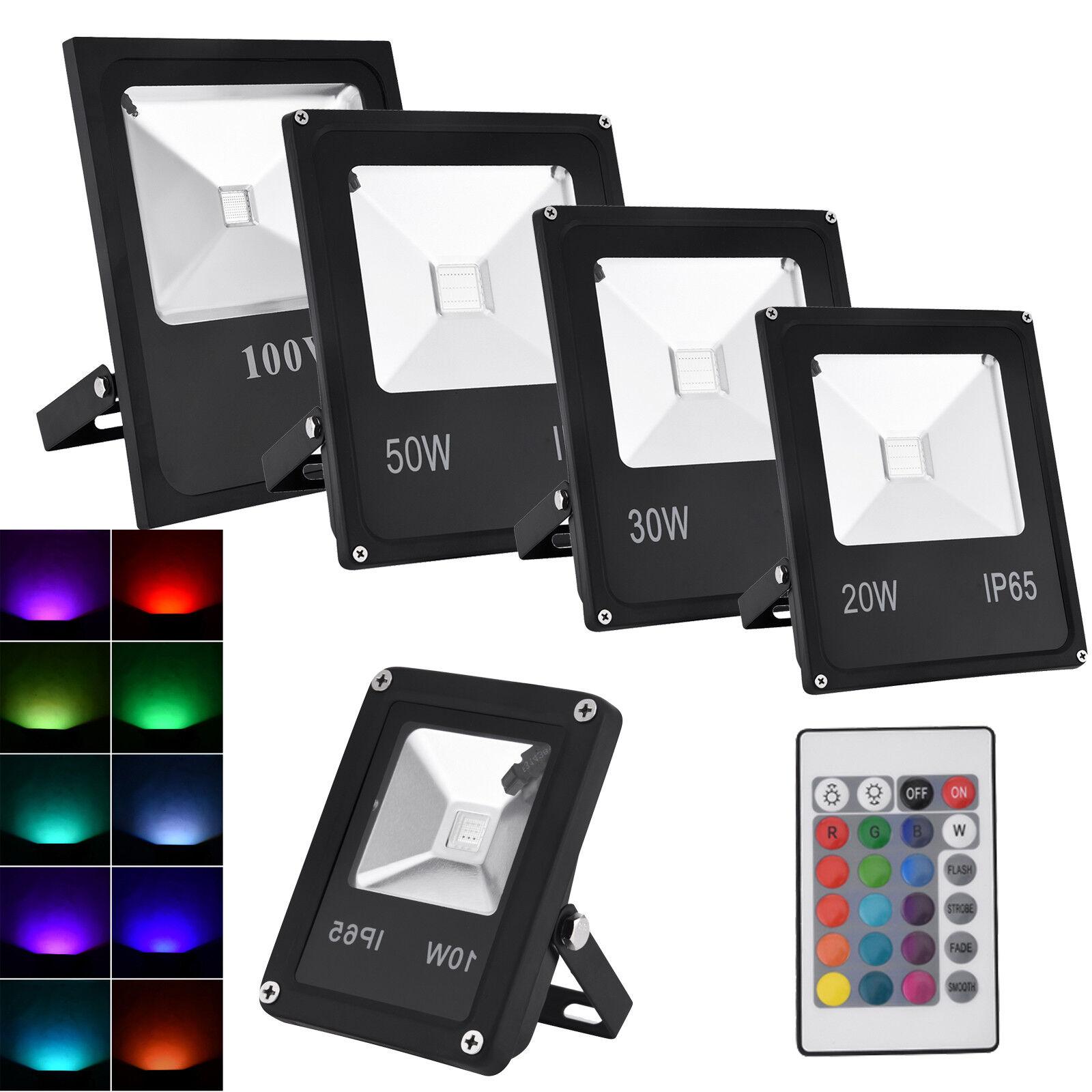 10W-100W LED RGB Fluter Außen Strahler Flutlicht Scheinwerfer mit Fernbedienung