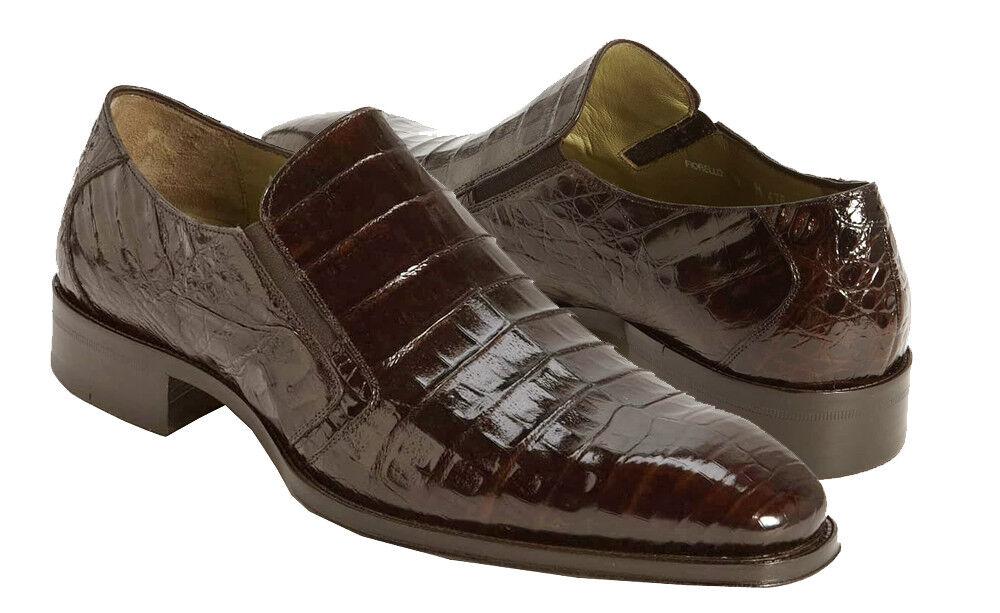 Mezlan Spain Men Real Crocodile Skin Dark Brown Plain Vamp Toe Dual Goring shoes