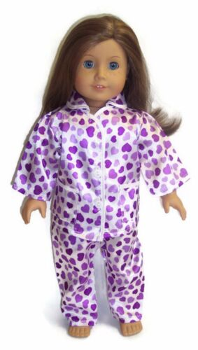 White w//Purple Hearts Satin Pajamas fits 18 inch American Girl Doll Clothes
