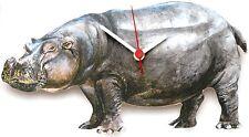 Hippo Hippopotamus Wooden Wall Clock Made in UK Ideal Wildlife Present Gift