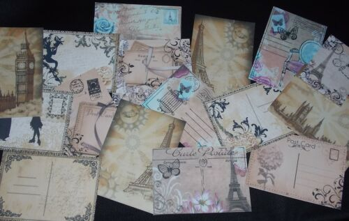 VINTAGE STYLE POST CARD TOPPERS FOR HANDMADE CARDS.. CARDMAKING,SCRAPBOOKING