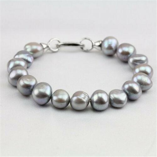 9-10 mm GRIS PERLE BAROQUE Bracelet 7.5 in Argent Boucle Classique Femme Flawless environ 19.05 cm
