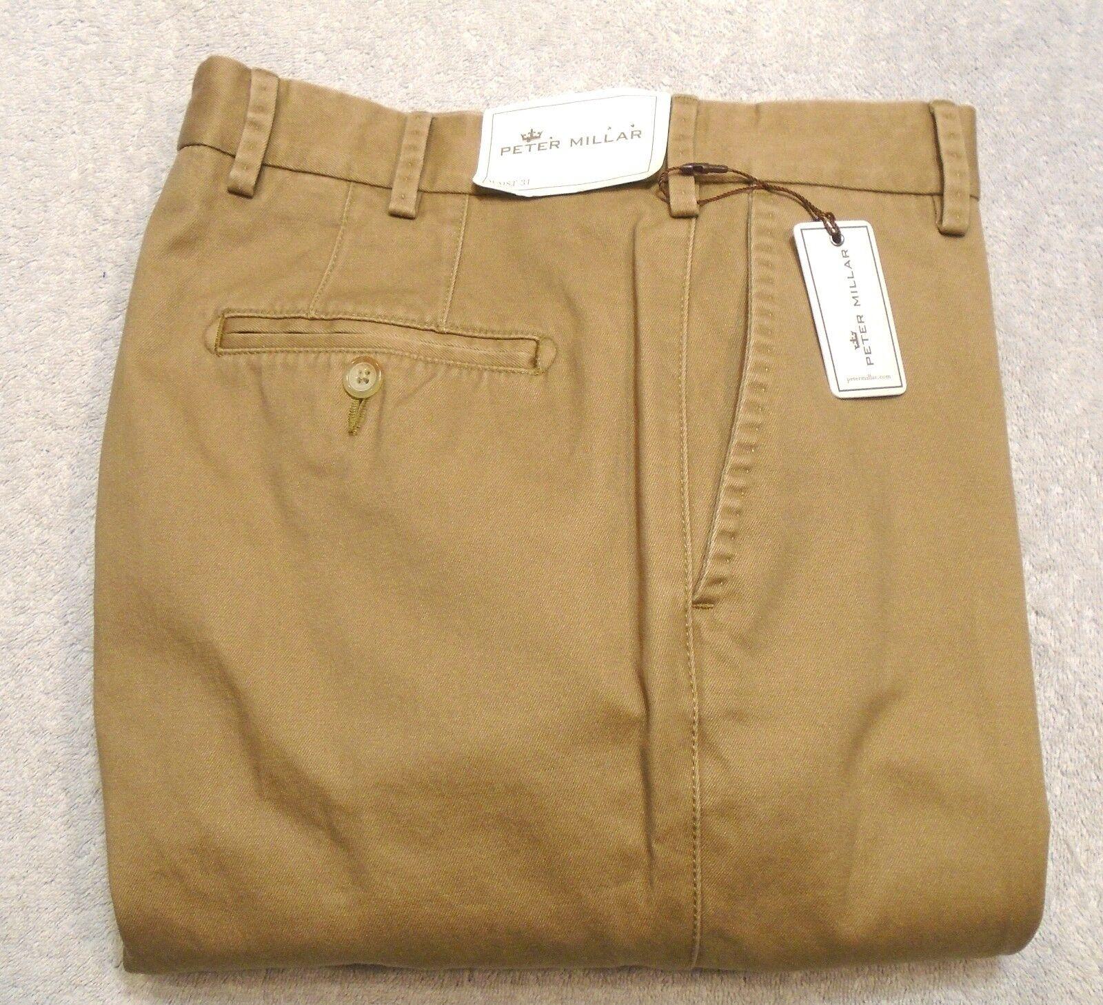 Peter Millar Raleigh Washed Twill Pima Cotton Khaki Pants NWT  31 x 36