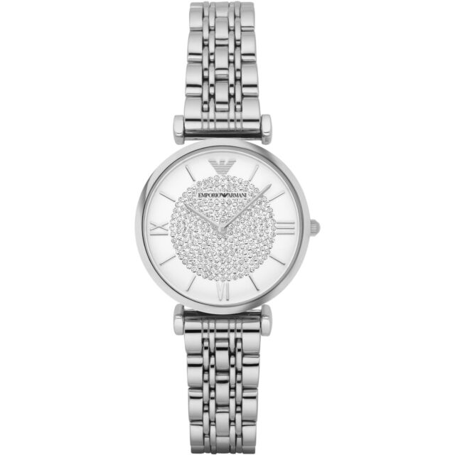 f2c2e792bc Emporio Armani AR1925 Crystal Pave White Dial Stainless Steel Ladies Watch
