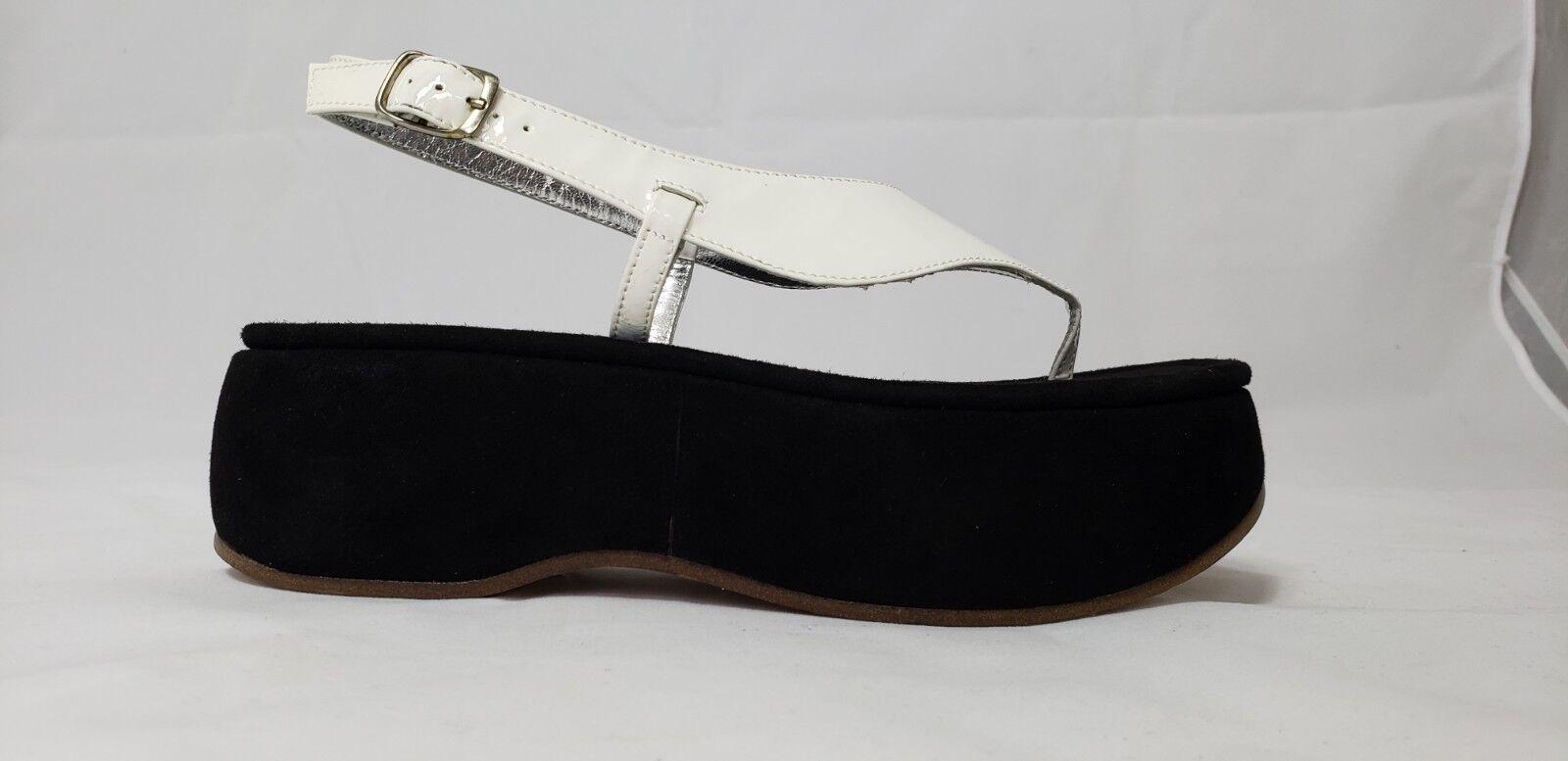 Bernardo Beachnique white patent leather   black suede sandals