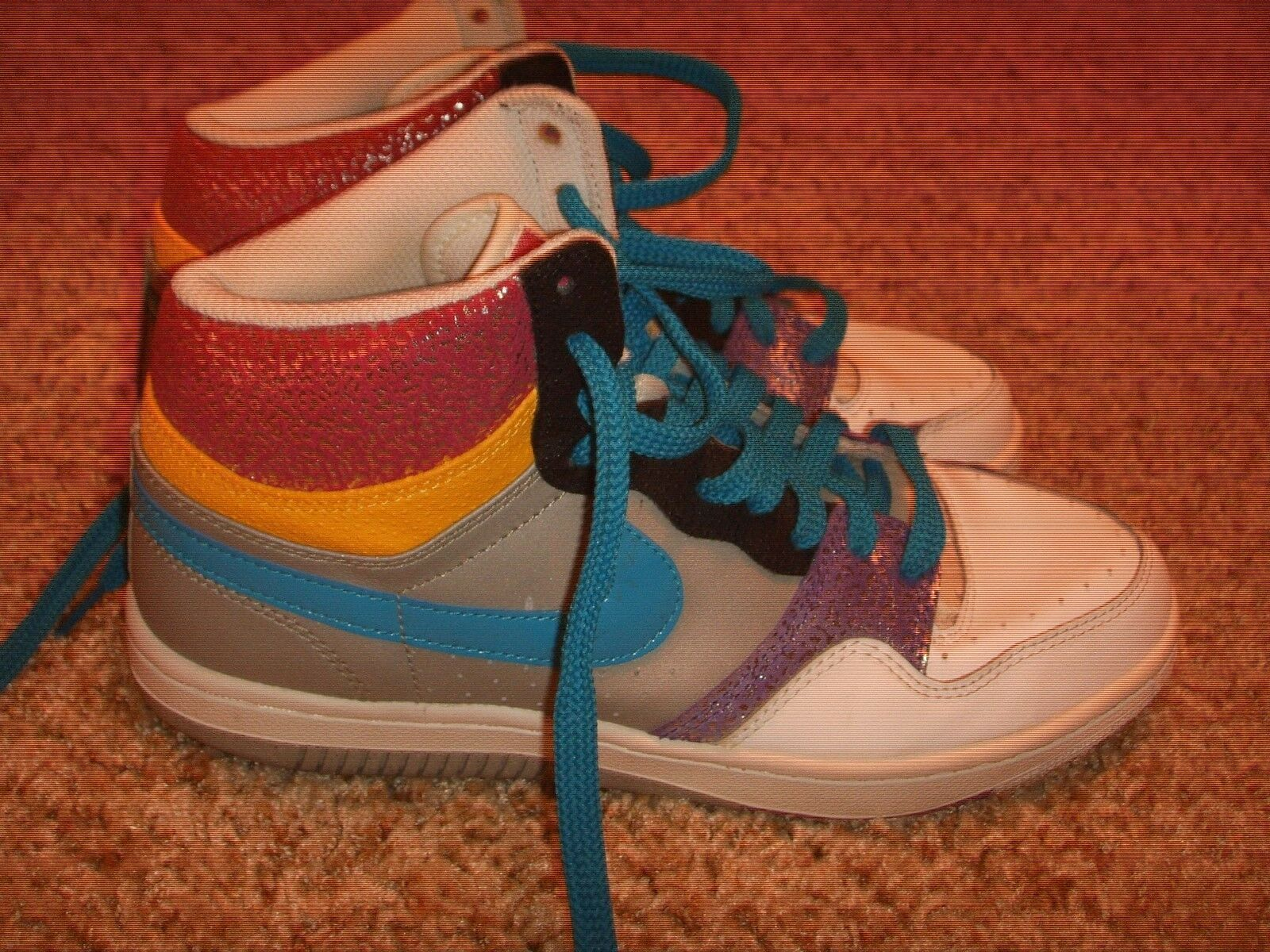 Nike Court Force High 316117-041 Gray/Blue/Pink/Purple Womens Comfortable Wild casual shoes