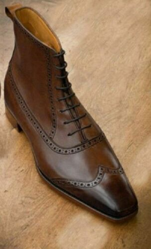 Handmade Men wing tip brogue ankle high boot brown leather boots lace up shoes